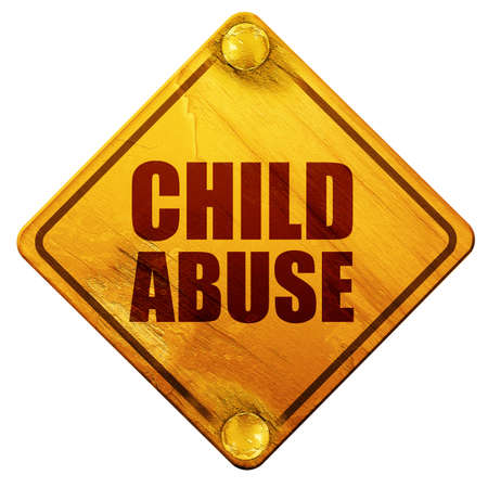 child abuse: child abuse, 3D rendering, yellow road sign on a white background Stock Photo