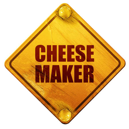 sign maker: cheese maker, 3D rendering, yellow road sign on a white background