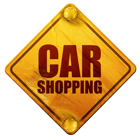 purchasing manager: car shopping, 3D rendering, yellow road sign on a white background Stock Photo