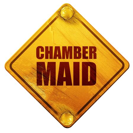 chamber: chamber maid, 3D rendering, yellow road sign on a white background
