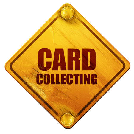 collecting: card collecting, 3D rendering, yellow road sign on a white background Stock Photo