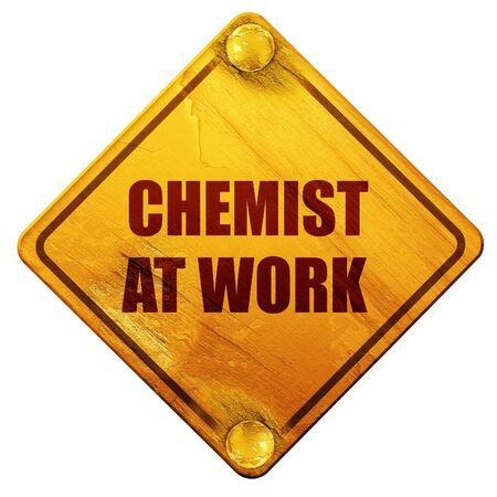 chemist: chemist at work, 3D rendering, yellow road sign on a white background