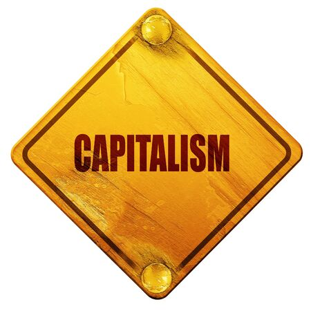 capitalism, 3D rendering, yellow road sign on a white background Stock Photo