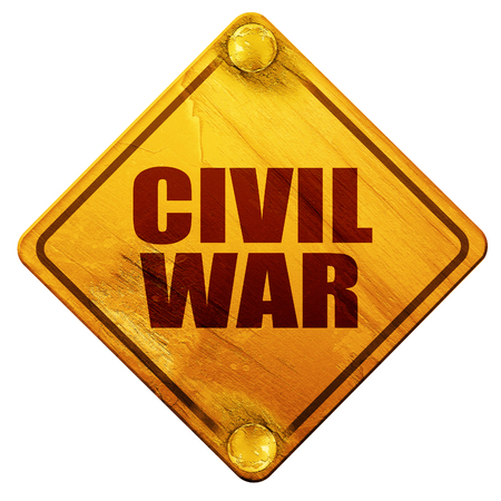 civil war, 3D rendering, yellow road sign on a white background