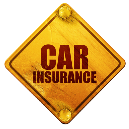 safely: car insurance, 3D rendering, yellow road sign on a white background