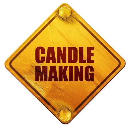 sign making: candle making, 3D rendering, yellow road sign on a white background Stock Photo
