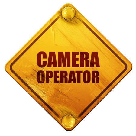 camera operator: camera operator, 3D rendering, yellow road sign on a white background