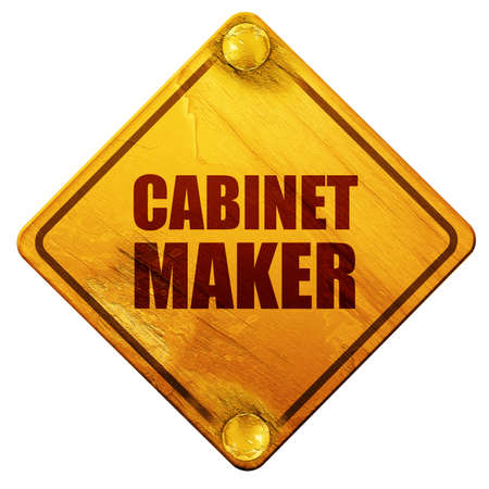 cabinet maker: cabinet maker, 3D rendering, yellow road sign on a white background Stock Photo