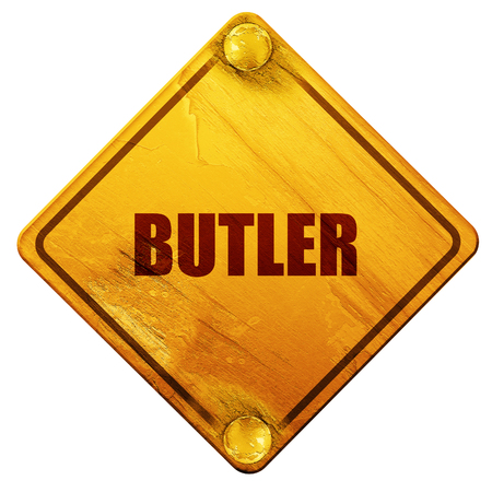 butler: butler, 3D rendering, yellow road sign on a white background
