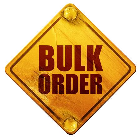 bulk: bulk order, 3D rendering, yellow road sign on a white background