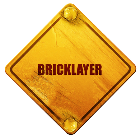 bricklaying: bricklayer, 3D rendering, yellow road sign on a white background
