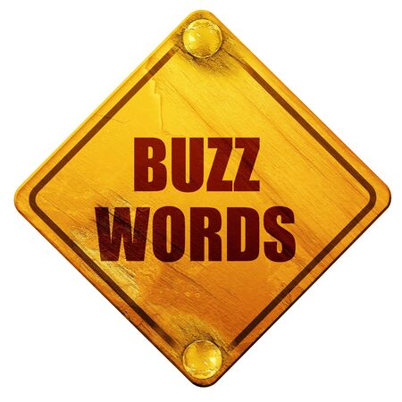 buzzword: buzzword, 3D rendering, yellow road sign on a white background