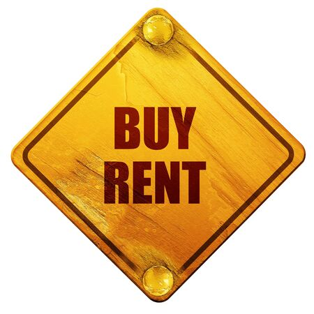 renter: buy rent, 3D rendering, yellow road sign on a white background Stock Photo