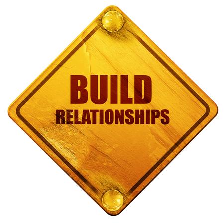 relaties op te bouwen, 3D-rendering, gele verkeersbord op een witte achtergrond
