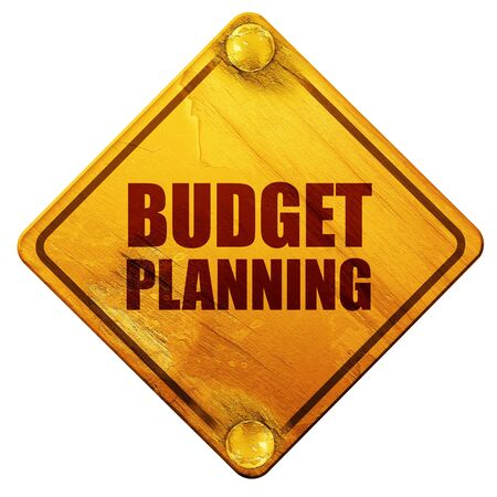 planning: budget planning, 3D rendering, yellow road sign on a white background