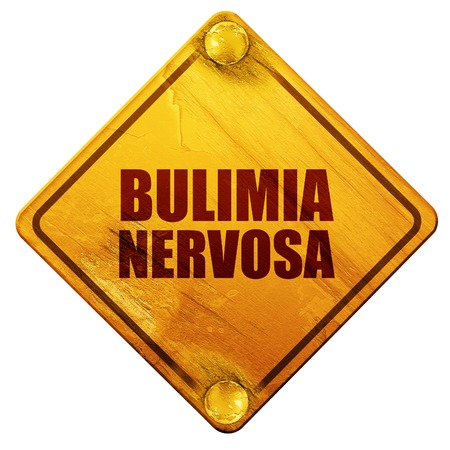 bulimia: bulimia nervosa, 3D rendering, yellow road sign on a white background Stock Photo