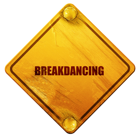 breakdancing: breakdancing, 3D rendering, yellow road sign on a white background