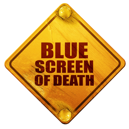 display problem: blue screen of death, 3D rendering, yellow road sign on a white background Stock Photo