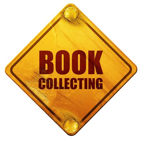 collecting: book collecting, 3D rendering, yellow road sign on a white background Stock Photo