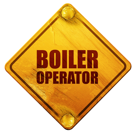heating engineers: boiler operator, 3D rendering, yellow road sign on a white background Stock Photo