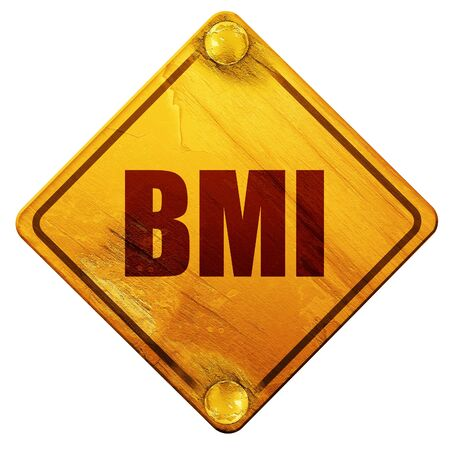 range fruit: bmi, 3D rendering, yellow road sign on a white background Stock Photo