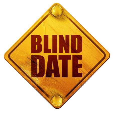 ex: blind date, 3D rendering, yellow road sign on a white background Stock Photo