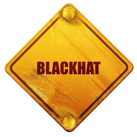 b2c: blackhat, 3D rendering, yellow road sign on a white background