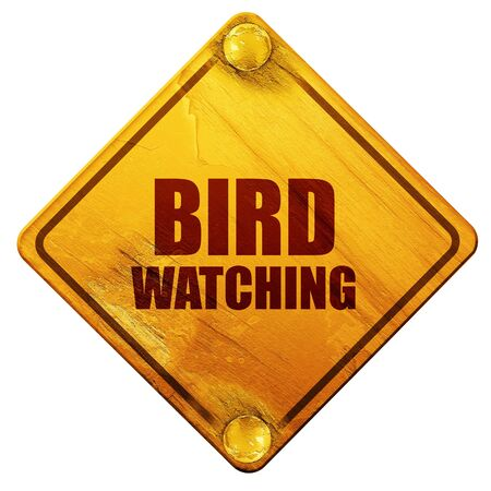 ornithologist: bird watching, 3D rendering, yellow road sign on a white background