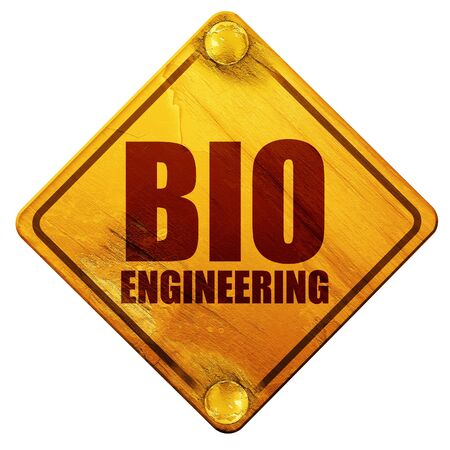 bioengineering: bio engineering, 3D rendering, yellow road sign on a white background