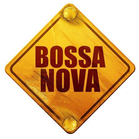 nova: bossa nova, 3D rendering, yellow road sign on a white background