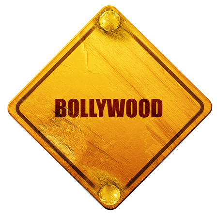bollywood: bollywood, 3D rendering, yellow road sign on a white background Stock Photo