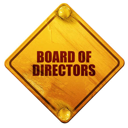 directors: board of directors, 3D rendering, yellow road sign on a white background Stock Photo