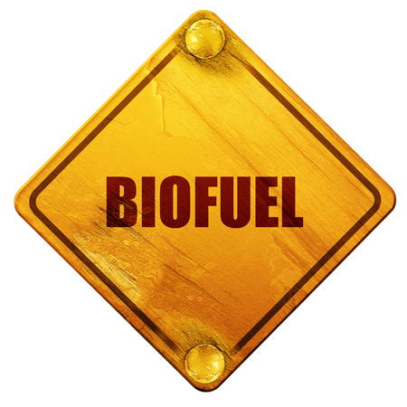 biofuel, 3D rendering, yellow road sign on a white background