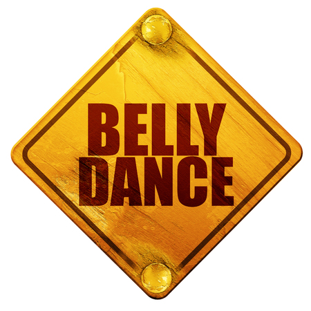 belly dance, 3D rendering, yellow road sign on a white background
