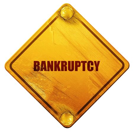 tax attorney: bankruptcy, 3D rendering, yellow road sign on a white background