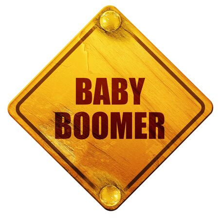 baby boomer, 3D rendering, yellow road sign on a white background