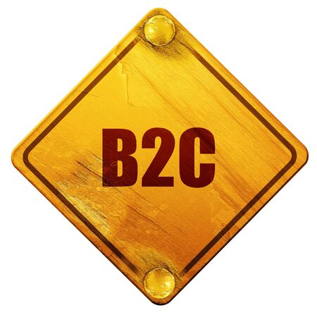 b2c: b2c, 3D rendering, yellow road sign on a white background
