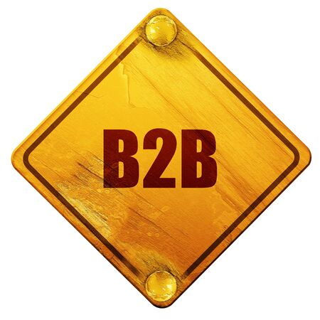 purchasing manager: b2b, 3D rendering, yellow road sign on a white background