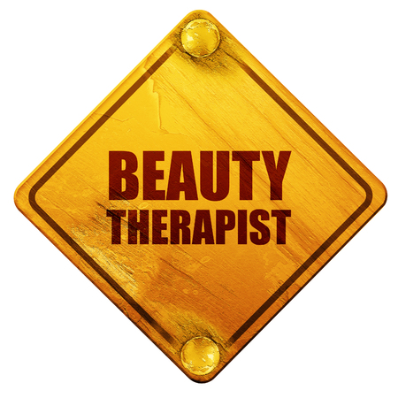 beauty therapist, 3D rendering, yellow road sign on a white background