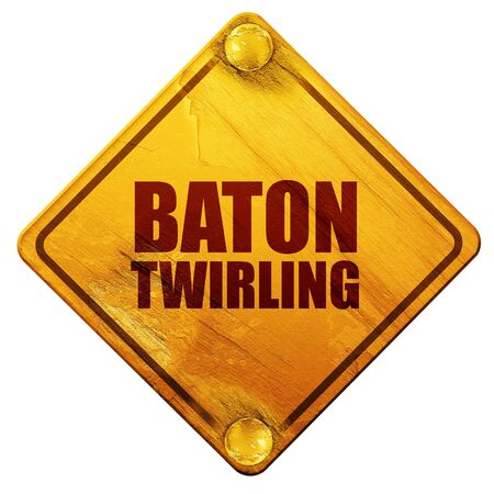 twirling: baton twirling, 3D rendering, yellow road sign on a white background