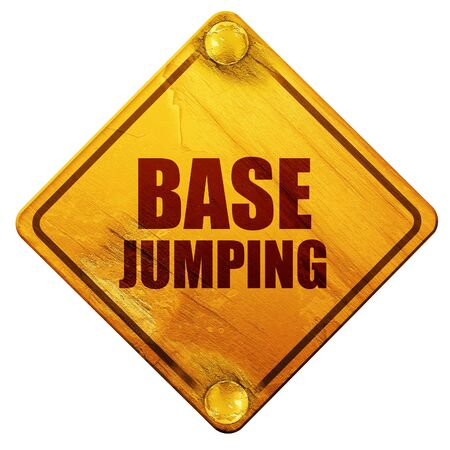 brave of sport: base jumping, 3D rendering, yellow road sign on a white background