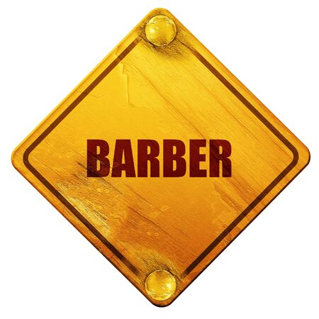 masculinity: barber, 3D rendering, yellow road sign on a white background