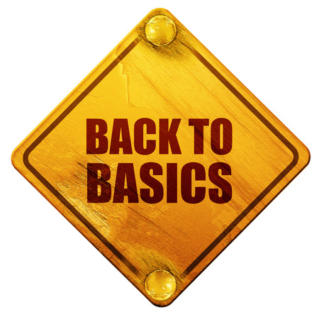 basics: back to basics, 3D rendering, yellow road sign on a white background