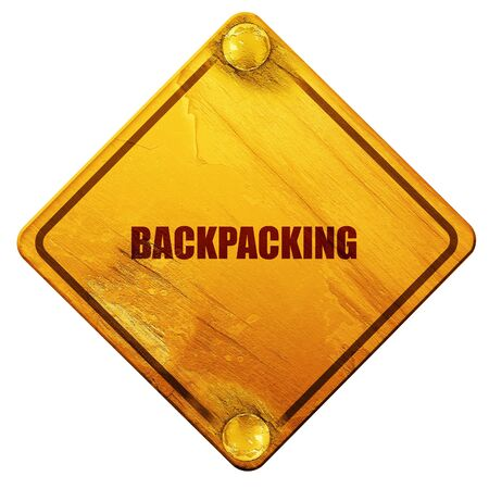 haversack: backpacking, 3D rendering, yellow road sign on a white background