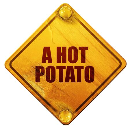 difficult situation: a hot potato, 3D rendering, yellow road sign on a white background Stock Photo