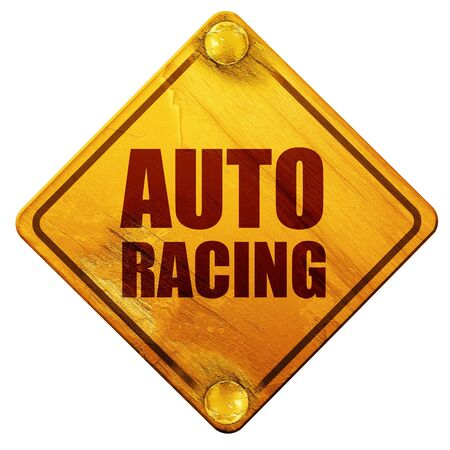 racing sign: auto racing, 3D rendering, yellow road sign on a white background