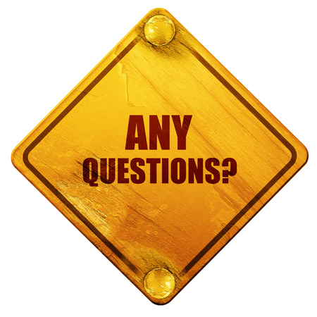 any: any questions, 3D rendering, yellow road sign on a white background Stock Photo