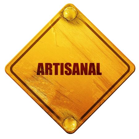 artisanal: artisanal, 3D rendering, yellow road sign on a white background