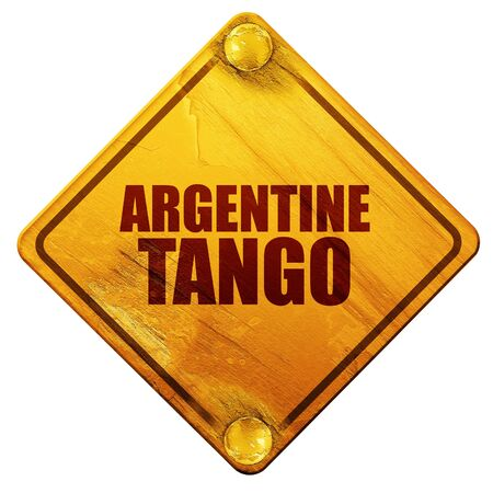 debonair: argentine tango, 3D rendering, yellow road sign on a white background