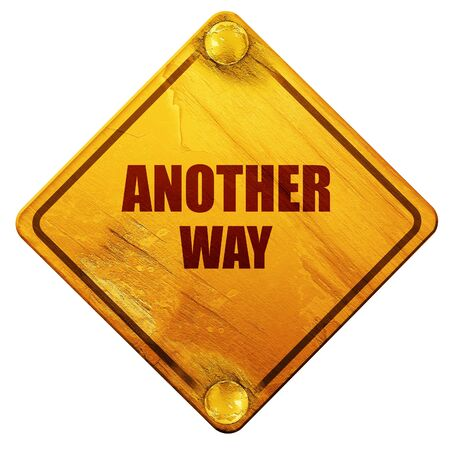 another way: another way, 3D rendering, yellow road sign on a white background